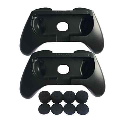 Hikfly 2pcs Handgriff-Controller für Nintendo Switch / NS / NX Joy-Con mit 8 Stück Silikon Gel Daumen Griffe (schwarz) (Mortal Kombat Nintendo Ds)