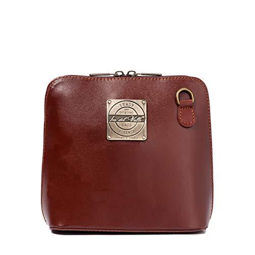 Kleine Pochette (Ira del Valle, Handtasche für Damen/Junge Frauen, Elegante, modische Pochette mit Kette, Kleine Handtasche, Clutch aus Echtleder, Modell Oxford City Bag, Made in Italy (Braun))