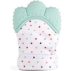 Kwock Baby Zahnen Handschuh Schnuller und Beißringe BPA Frei Silikon Fäustlinge Reduzieren Sie Bakterien und Zahnfleisch Schmerzen Erleichterung Warme Teething Mitten fur 2-12 Monate Baby (Grün)