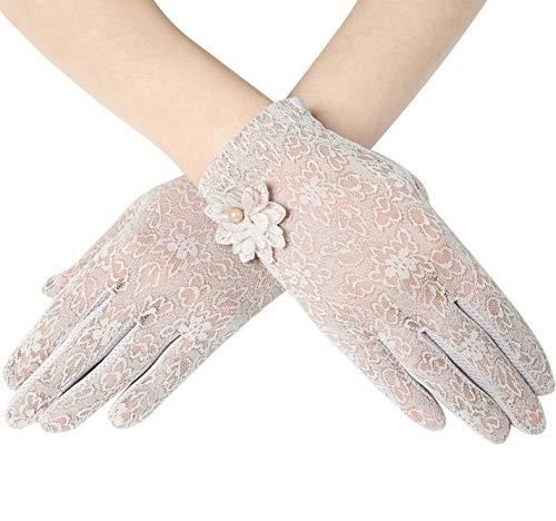 ArtiDeco Damen Lace Handschuhe Satin Braut Hochzeit Spitze Handschuhe Opera Fest Party Handschuhe 1920s Handschuhe Damen Kostüm Accessoires (Kurz Blume Lila)