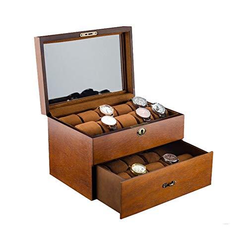 Yzyamz Uhrenbox Tragbare Multifunktionale Massivholz Doppel 20 Uhrenbox Schmuck Armbänder Armband Aufbewahrungsbox -