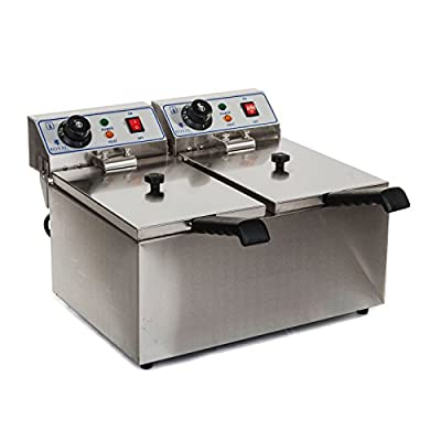 Royal Catering Friteuse Fritteuse Doppelfriteuse 2 X 8 L 2 X 3200 W 230 V Thermostat 60200 C 41 X 465 X 31 Cm Edelstahl Inkl 2 X Korb Mit Deckel