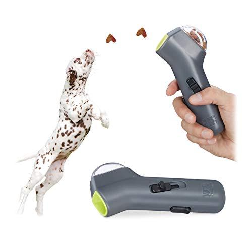 Relaxdays 2X Leckerli Pistole, interaktives Hundespielzeug, Hunde & Welpen, Futter, Belohnung & Training, Leckerlie Werfer, grau -