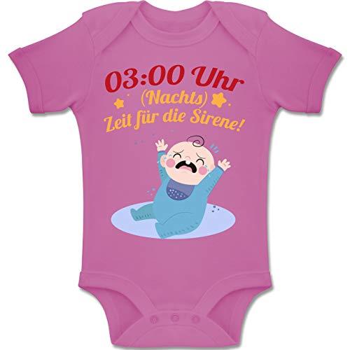 3:00 Uhr (Nachts) Zeit für die Sirene! - 6-12 Monate - Pink - BZ10 - Baby Body Kurzarm Jungen Mädchen ()