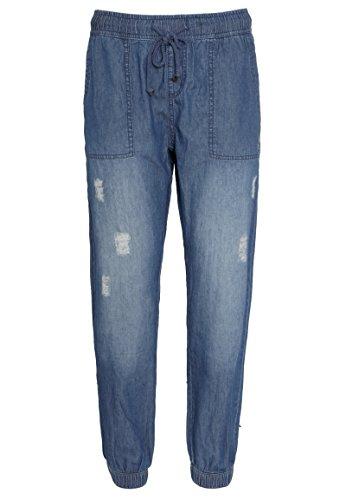 URBAN SURFACE Damen Jeans mit Gummibund & Kordel | Loose-Fit Hose aus leichtem Denim middle-blue M (Jeans Relaxed Fit Damen)