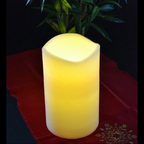 LED Wachskerze elfenbein 15x25cm