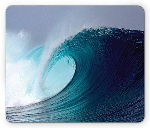 Ocean Mouse Pad, Tropical Surfing Huge Wave on a Windy Sea Indonesia Sumatra Picture Print Gaming Mousepad Office Mouse Mat Blue Aqua and White -