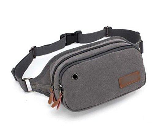 FZHLY Koreanische Version Der Leinwand Taschen Beiläufige Männer Und Frauen Outdoor Sport Chest Bag,BlueAndBlack Gray