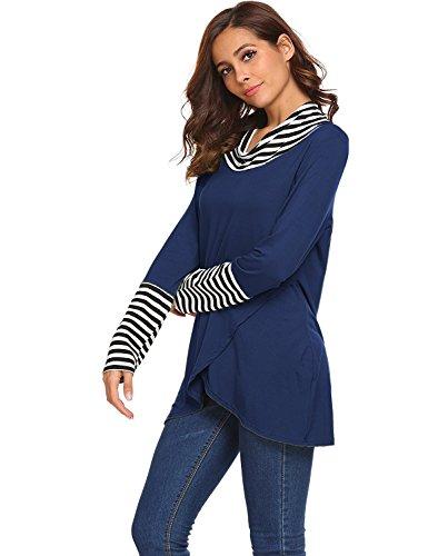 Shmily Girl Donna T-Shirt Maniche Lunghe con Collo Sciarpa Blu