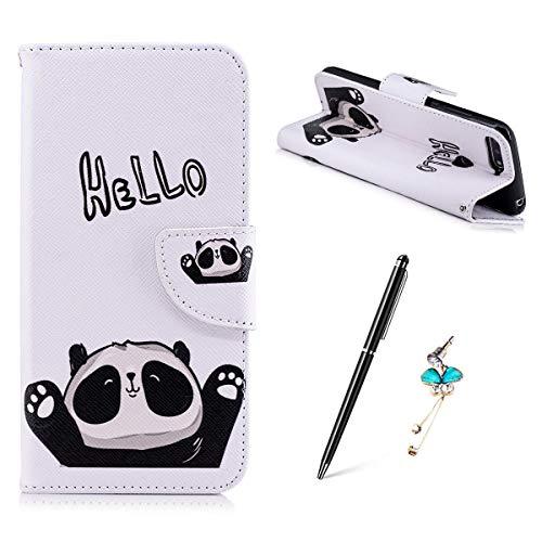 Huawei Honor 7A / Huawei Y6 2018 Hülle, Gemalt Muster Schutzhülle Lederhülle Magnetische Schnalle Premium PU Leder Flip HandyCase Brieftasche Kreditkarte Taschen Etui Handyhülle - HEELO Panda