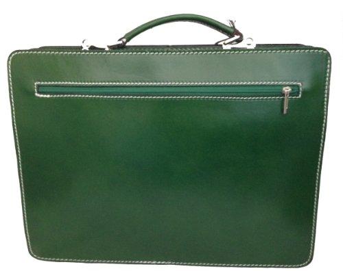 CTM Aktentasche Schultertasche Orange Tür Dokumente Männer, 38x29x11cm, 100% echtes Leder Made in Italy Grün