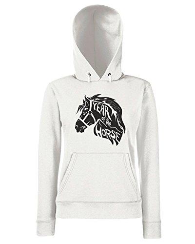 T-Shirtshock - Sweats a capuche Femme FUN0004 01 01 2014 Year Of The Horse T SHIRT det Blanc