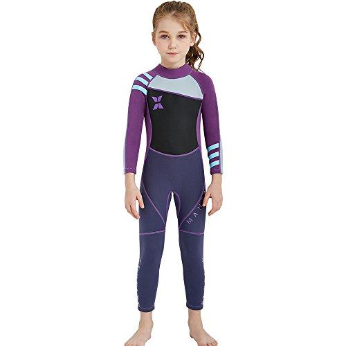 e Siamesische Strumpfhosen Langarm Neoprenanzug Surfing Thermische Badeanzüge Neopren UPF 50+ Schutz UV 2.5MM Wasser Sport Tauchen Anzug (Color : Lila, Größe : 10-12T) ()