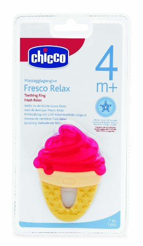 Chicco Teething Ring Fresh Relax Icecream (Yellow)  available at amazon for Rs.249