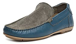 US Polo Association Mens Grey Leather Loafers and Moccasins - 11 UK/India (45 EU)