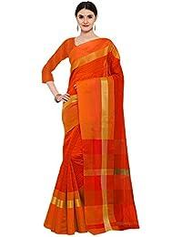 AppleCreation Women's Silk Saree With Blouse Piece (Linen Silk Sarees_Lnn131_Orange)