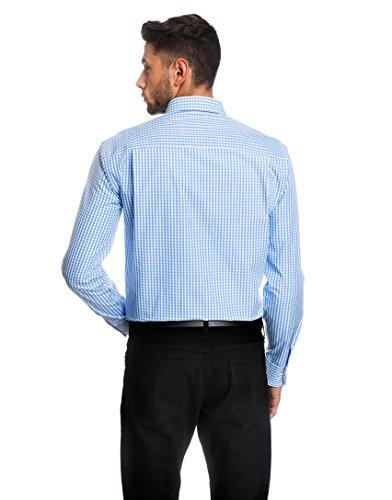 EMBRÆR Herren-Hemd Slim-Fit Tailliert Bügelleicht 100% Baumwolle Kariert - Männer Lang-Arm Hemden für Anzug mit Krawatte Business Hochzeit Freizeit oder Unter Pullover Eisblau