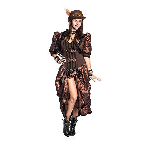 Kostümplanet® Steampunk-Kostüm Deluxe Damen Kleid mit Bolero Jäckchen Größe (Kostüm West Frauen Wild)