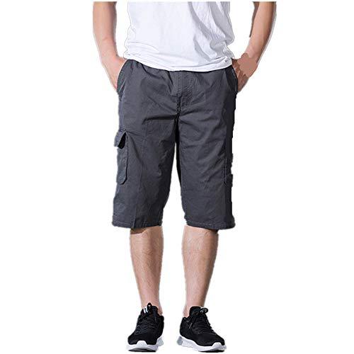 Cargo Shorts Herren Chino Kurze Hose Sommer Bermuda Sport Jogging Training Stretch Fitness Vintage Regular Fit Sweatpants Baumwolle Qmber Latzhose Outdoor Pocket Arbeitshose Cargo Shorts(Gray,2XL)