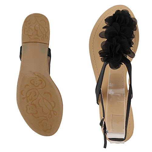 Modische Damen Sandalen Blumen Zehentrenner Sommer Schuhe Party Abiball Hochzeit Schwarz Nero