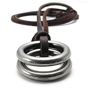 Konov Jewellery Unisex Men's Vintage Style Double Ring Pendant Adjustable Genuine Leather Necklace Chain, Colour Brown Silver (with Gift Bag)