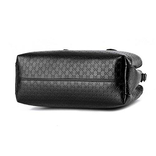 WU ZHI Mittelalter Damen Mutter Tasche PU Weichen Leder Casual Big Bag Schulter Messenger Bag Handtasche Black