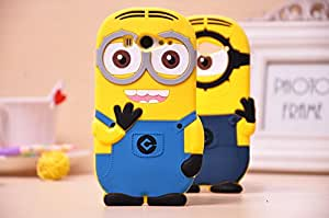 Go Crazzy Cute 3D Cartoon Minion Soft Gel Rubber Silicone Protection Skin Case Cover For Xiaomi Mi -2 (2 Eyes, Blue) With Free Usb Led Light