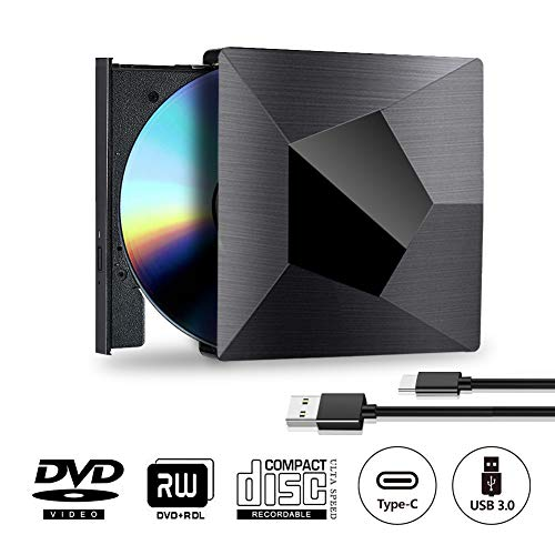 Externes CD DVD Laufwerk USB Type C, Tragbar 2 in 1 USB 3.0 und USB Type C CD DVD Brenner Extern Player für Windows 10 7/8 / Vista / XP / Mac OS Linux, Laptop, PC