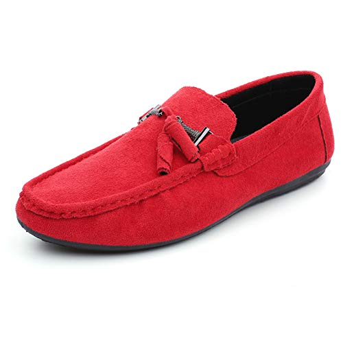 Herren Casual Wildleder Slip on Driving Mokassins Flache Bootsschuhe Müßiggänger,Red,40