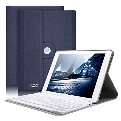 COO Funda Teclado iPad Mini 4, Funda Ultraliviano con Teclado Español Bluetooth Inalámbrico para iPad Mini 4 con Visión de Multiángulo y 360 Grados Soporte Giratorio (Azul Oscuro)