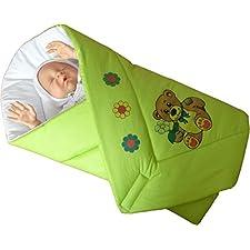 BlueberryShop Klassische Wickeldecke mit Tierdruck Decke Bettdecke für Neugeborene Baby 100% Baumwolle ( 0-3m ) ( 78 x 78 cm ) Grün Bär