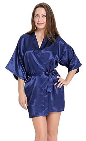 Aibrou peignoir long satin pyjama femme sexy ensemble chemise de nuit peignoir nuisette kimono japonais déshabillé vetement cadeau pour la fête mariage (Bleu foncé,L