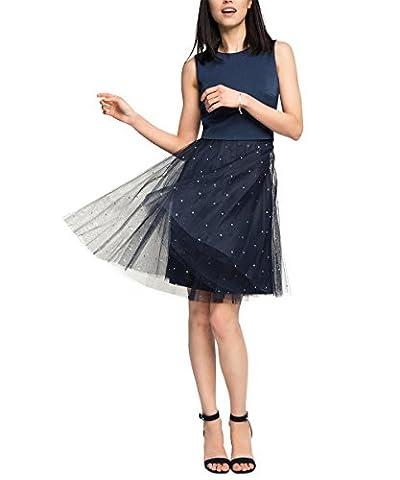 ESPRIT Collection Damen Kleid 046EO1E016-Blickdicht durch Unterrock Blau (Navy 400), 38