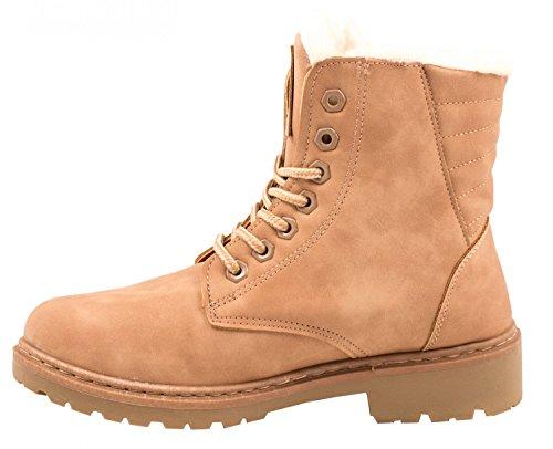 Elara Damen Worker Boots | Bequeme Warm Gefütterte Schnürrer | Outdoor Stiefeletten Pink Hamburg