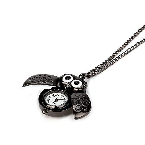 Armbanduhr jungen Liusdh Uhren Vintage Style Retro Slide Eule Anhänger lange Halskette analoge Taschenuhr Geschenk(C,Einheitsgröße)