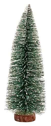 Gemvie albero di natale resina artificiale altezza 10/15/20/25/30cm pino tronco verde base in legno manuale mini albero miniatura decoratioin esterno interno, resina, verde, 30 cm