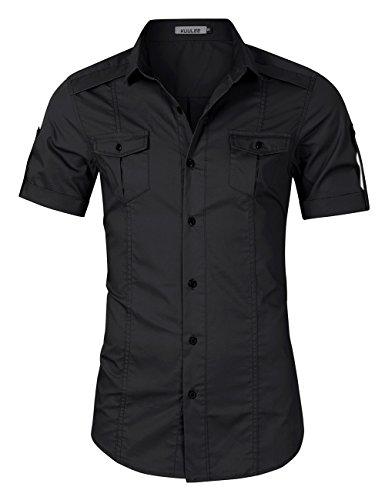 Kuulee camicia uomo, sottile camicia casual a maniche corte slim fit stagione estiva