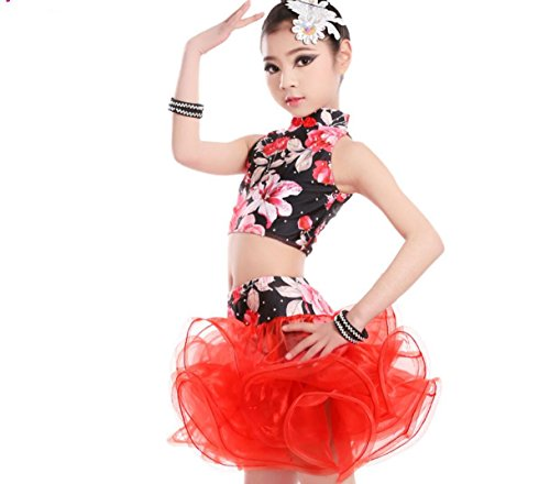 Kostüm Freestyle Wettbewerbs - Kinder Latin Dance Kostüm Kinder Wettbewerb Kostüme Freestyle Dance Kostüme Rot/Blau, Red, 160cm