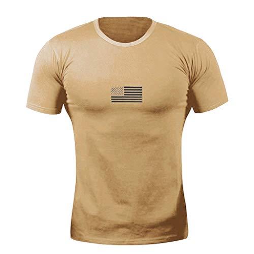 ZHANSANFM Herren Aufdruck T-Shirt Crewneck Täglichen Muster Shirt Freizeit Fitness Kurzarm Tops Sommer Slim Fit Muskelshirt Tee Oversize Vintage Style Sweatshirt Sommer Modern (XL, Armeegrün) -