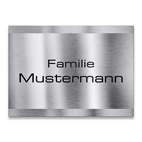 Namensschild Edelstahl - für Briefkasten, Haustür oder Wand-montage - inklusive Gravur - selbstklebend oder Bohrungen - wetterfest - Produktmaße: 110x80mm (mit Bohrung)