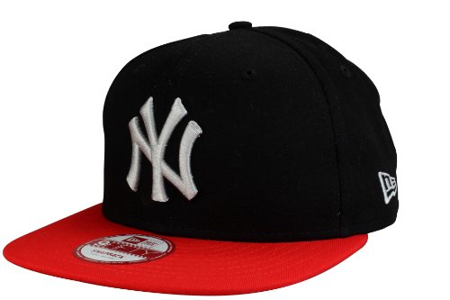 New York Yankees Casquette Snapback Cap Cotton Block de New Era en noir / scarlet | Taille: S/M