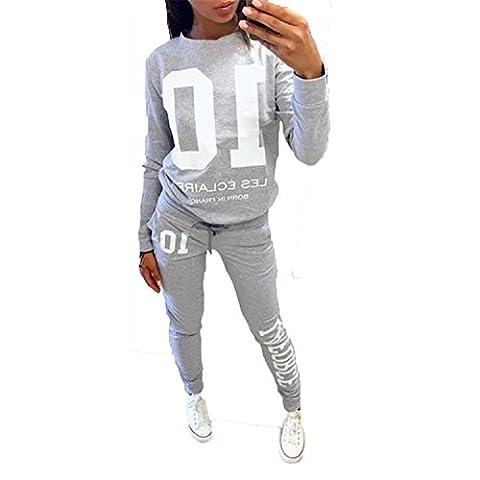 DoubleYI Damen Jogginganzug Langarm Anzug Pullover Sportanzug Trainingsanzug Sweatshirt Anzug mit Hose (Damen Jogginghosen)