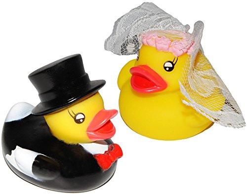alles-meine.de GmbH 2 TLG. Set -  Brautpaar - Enten  - Schwimmtiere - Quietschtier / Figur Quietschfigur - Hochzeitspaar - Braut & Bräutigam / Hochzeit - Schwimmtiere - Badeent.. (Bräutigam Badewanne)