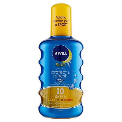 Nivea sun spray solare trasparente protect & refresh fp10 protezione bassa - 200 ml