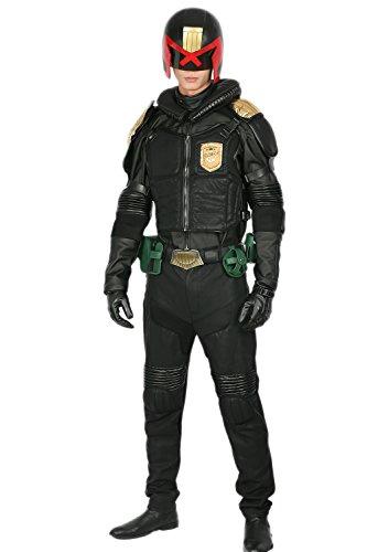 Kostüm Helm Dredd - Xcoser Judge Kostüm Cosplay mit Helm Halloween Herren Deluxe Schwarz PU Leder Anzug Uniform Fancy Dress Kleidung Outfit