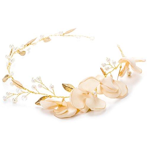 LUOEM Hochzeit Braut Stirnband Blume Perlen Haarband Kopfschmuck Headwear Hochzeit Zubehör