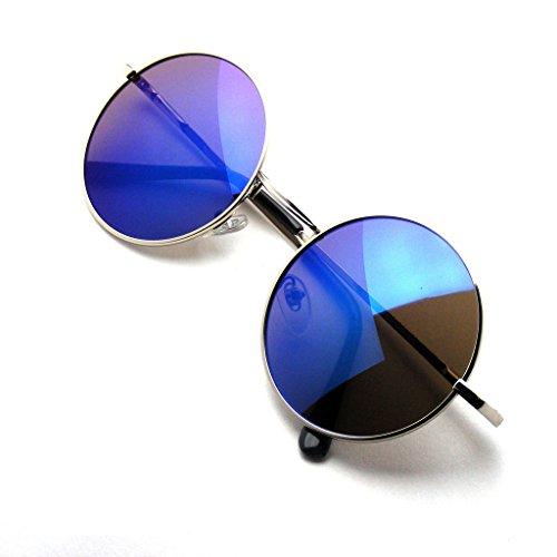 Lennon Brille John Lila (John Lennon inspiriert Sonnenbrille Runde Hippie Schattierungen Retro Farbige Linsen (Lila)