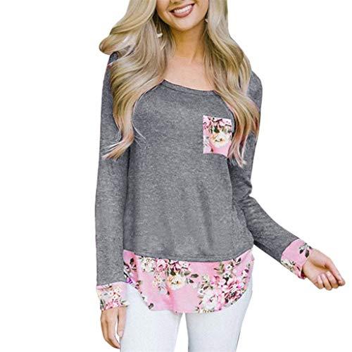 Langarmshirt Damen,Sannysis Elegante T-Shirt Frauen Basic Oben Bluse Oberteile Pullover Lässige Streetwear Tunika Top