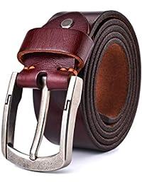 Alice & Elmer Men's Ultra-Soft Genuine Leather Belt(Black,Brown,Coffee,Tan;Fit Waist Size 30''-44'')