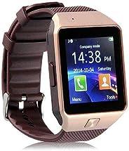 ساعة جي اس ام الذكية التي تتصل مع الهاتف الذكي مع بلوتوث وشاشة لمس - لون بني